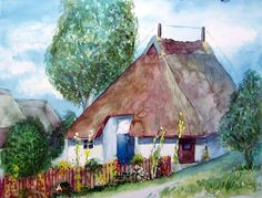 Pfarrwitwenhaus als Motiv für meine Aquarelle | Pfarrwittwenhaus Groß Zicker (c) Frank Koebsch #wirsindinsel! #rügen #Pfarrwitwenhaus #Aquarell