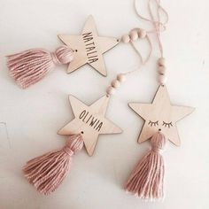 Nordic Style Cute Star Shape Wooden Beads Tassel Pendant Kids Room Decor Wall Hanging Ornament for Photography, Diy, Decor Crafts, Diy And Crafts, Crafts For Kids, Diy Decoration, Tree Crafts, Diy Christmas Tree, Christmas Ornaments, Navidad Diy, 242