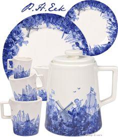 Afbeeldingsresultaat voor design wit servies met delfts blauw accent