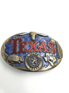 white and blue bonnets. Custom buckle  handcrafted from vintage jewelry one of a kind Texas themed red