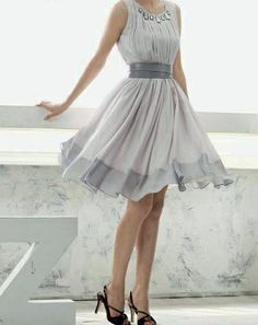 light grey waist band flowing over knee hem Discover more @ I LoveDresses And Accessories.