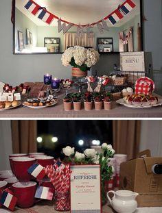 A mesa de festa deste post foi inspirada em Paris com tema de picnic com muitos doces e comidas típicos da frança, como a bomba, as frutas vermelhas, alguns pães