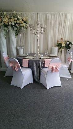 Blush Pink, Charcoal Grey and White with a touch of silver Wedding Table Setup #Wedding #BlushPinkGreyandWhite #TableSetup #WeddingCoordinator