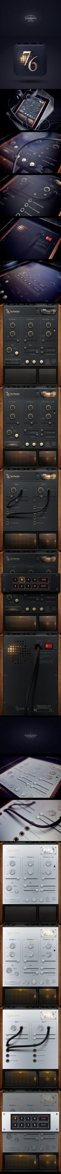 76 Synthesizer is one of the most amazing hyper-realistic skeuomorphic design I've ever seen.   Designed by Jonas Eriksson. http://www.behance.net/JonasEriksson http://www.behance.net/gallery/76-Synthesizer-Final/2402294 http://synth76.com/