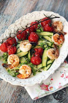 Baby Zucchini and Shrimp Salad with Citrus Aioli recipe from Chef Wanabe's blog. #zucchini #salad