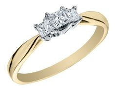 Princess Cut Three Stone Diamond Engagement Ring and Anniversary Ring 1/4 Carat (ctw) in 14K Yellow Gold MyJewelryBox. $399.00. Free Signature MyJewelryBox Gift Box. If you are not completely satisfied, you can return any order for refund or exchange within 30 days from the date of shipment - shop with confidence!