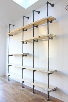 Scaffolding Boards and Dark Steel Pipe Wall Mounted and Floor Standing Industrial Chic Shelving/Bookcase - Bespoke Urban Furniture Design Bookcase Shelves, Closet Shelves, Pipe Bookshelf, Wall Shelving, Shelving Ideas, Storage Ideas, Metal Shelves, Copper Pipe Shelves, Shelf Ideas