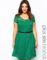 New Look Inspire Cap Sleeve Belted Lace Dress