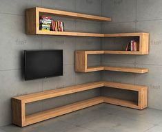 Now amaze everyone with your wonderful selection and decorate your tv lounge with this marvelous wood corner shelve the plan. This shelve is not only increasing the beauty of this lounge but also providing a smart space for the placement of your books and other useful items on it. #shelfie #shelves #shelf #cornershelf