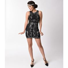 1920s Black & Silver Beaded Sequin Sleeveless Short Flapper Dress ($78) ❤ liked on Polyvore featuring dresses, 1920s cocktail dresses, 20s flapper dress, short-sleeve shift dresses, short cocktail dresses and sequin dress