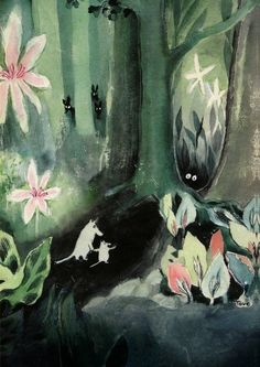 Tove Jansson's first ever Moomin book 'The Moomins and the Great Flood'. Tove Jansson began writing the book in War had broken out, and the 25 year old Finnish writer was thinking about a different world, one not shot through with fear and hatred. Tove Jansson, Art And Illustration, Floral Illustrations, Moomin Books, Miranda July, Art Design, Artsy Fartsy, Childrens Books, Creations