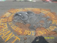 """Annual """"Chalk The Walk"""" Mount Vernon Iowa 2012 – photo by Deborah Goodlove drawing by Kit Umscheid and Michelle Wiese"""