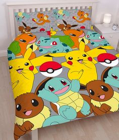 Pokémon fans will love this fun Pokemon Catch Duvet Cover Set. The front of the duvet cover features Pokémon favourites Pikachu, Squirtle, Bulbasaur, Eevee & Charmander in different poses on a grey background Full Duvet Cover, Double Duvet Covers, Single Duvet Cover, Duvet Cover Sizes, Quilt Cover Sets, Pillow Covers, Pikachu, Pokemon Go, Charmander
