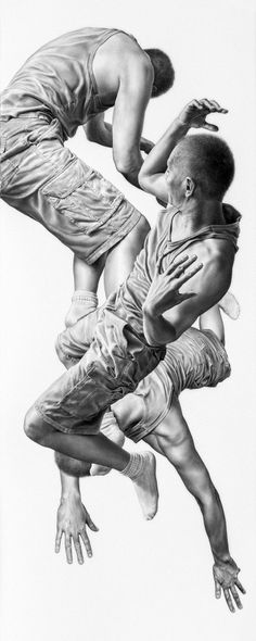 Artist: Leah Yerpe, charcoal and graphite; Brooklyn, NY {hyperreal floating female falling women figurative b+w drawing} <3
