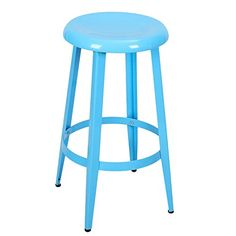 DecentHome Metal Stackable Round Top Backless 26-Inch High Stools