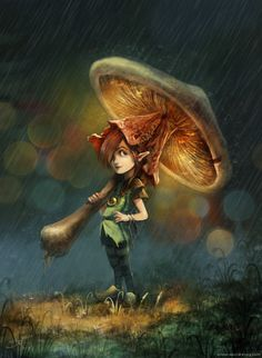 pixie girl mushroom umbrella cute fairy tale creature fantasy illustration art picture