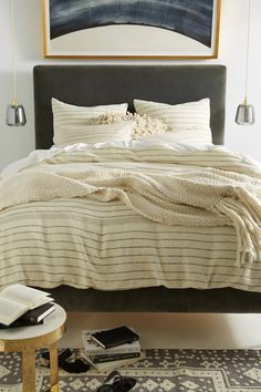 neutral stripe duvet