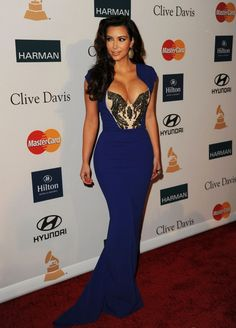 Gorgeous Cap Sleeves Kim Kardashian Blue Sexy Mermaid Evening Prom Dress Full Length.jpg 635×883 pixels