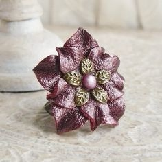 Lotus Leather Flower Ring in Pomegranate Ice ❤ by Viridian on Etsy