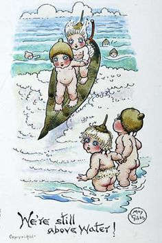 We're Still Above Water IThe Gumnut Babies as drawn by May Gibbs, Australian author and illustrator Baby Tattoos, Children's Book Illustration, Book Illustrations, Australian Artists, Teenage Mutant Ninja Turtles, Vintage Images, Vintage Artwork, Cuddling, Childrens Books