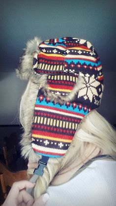 Trapper hat bomber hat Aztec print Tribal print Snowflakes winter snow boarding ice fur furry cute beautiful hair curls blonde