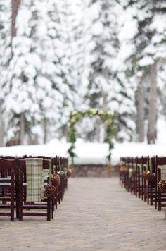 Beautiful outdoor winter wedding ceremony from Ciprian Photography at the Ritz Carlton Lake Tahoe