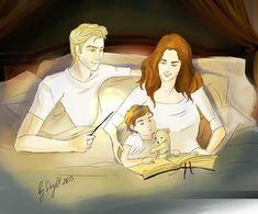"Dramione ""bedtime story""   Skyltik deviantART {Draco, Hermione & Scorpius}"