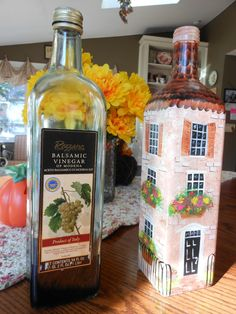 Good afternoon everyone! Only 2 more days to make that costume and buy the candy! My old is going out with her friends and the. Wine Bottle Art, Painted Wine Bottles, Diy Bottle, Painted Wine Glasses, Wine Bottle Crafts, Bottles And Jars, Glass Bottles, Decorated Bottles, Vintage Bottles