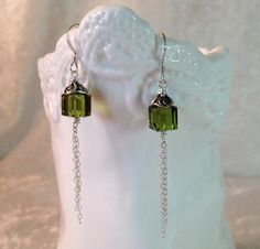 Earrings with Olive Green Swarovski Cubes and Sterling Silver Chain, Dangle Earrings