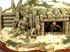 """""""Tarawa"""" a scale vignette. Military Diorama, Military Art, Military History, Plastic Model Kits, Plastic Models, Military Action Figures, Model Tanks, Military Modelling, Cool Sketches"""