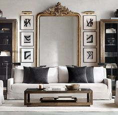Belgian Slope Arm Slipcovered Sofa – rustic home interior Living Room Mirrors, My Living Room, Home And Living, Living Room Furniture, Living Room Decor, Rustic Furniture, Antique Furniture, Small Living, Modern Living