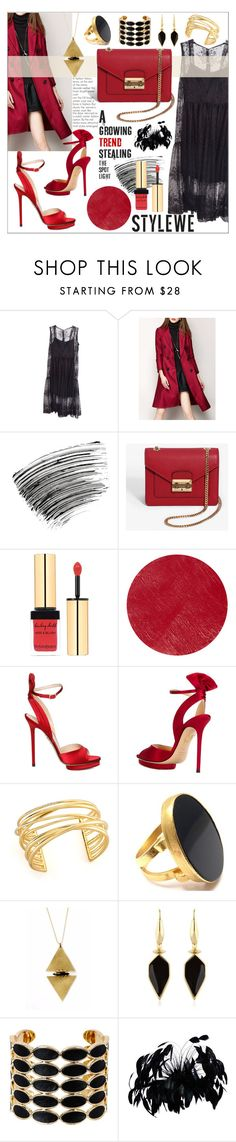 """""""Stylewe Red Coat"""" by bleucabbage ❤ liked on Polyvore featuring Bobbi Brown Cosmetics, Yves Saint Laurent, Burberry, Charlotte Olympia, Elizabeth and James, Yossi Harari, Isabel Marant, House of Harlow 1960, gold and black"""