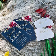 boho navy blue and burgundy floral wedding invitations Burgundy Wedding Invitations, Summer Wedding Invitations, Watercolor Wedding Invitations, Cranberry Wedding, Navy And Burgundy Wedding, Winter Wedding Colors, Fall Wedding, Flower Invitation, Invitation Ideas
