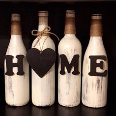 Set of 4 rustic painted wine bottles with wood letters spelling hom. Wine Bottle Design, Wine Bottle Art, Painted Wine Bottles, Diy Bottle, Bottles And Jars, Diy Crafts For Gifts, Diy Home Crafts, Decorated Wine Glasses, Glass Bottle Crafts