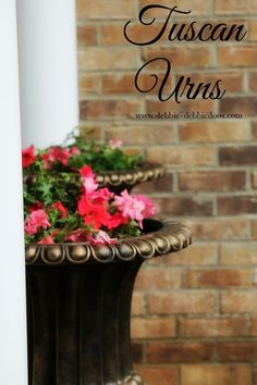 Tuscan Urn Planter Pots with Petunias from @micmanno #springflowers
