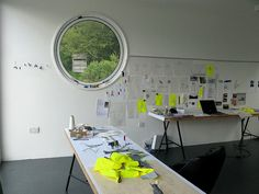 studio  by d.stitched, via Flickr :: white :: decor :: window :: plants :: table top :: office :: work space ::
