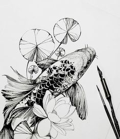 Tattoos And Body Art koi tattoo Art Koi, Fish Art, Fish Drawings, Art Drawings, Koi Fish Drawing, Flower Drawings, Drawing Flowers, Sketches Of Flowers, Art Flowers