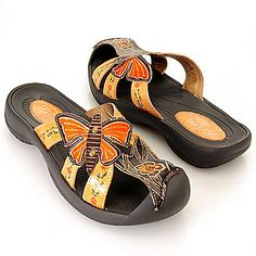 "ShopHQ Shopping - Corkys Elite Hand-Painted Leather ""Firefly"" Slip-on Sandals. Slip into eye-catching style and all day comfort with the Firefly sandals from Corkys! The lovely hand-painted design offers an exposed heel and sem Butterfly Shoes, Butterfly Fashion, Butterfly Design, Sandals For Sale, Shoe Show, Body Shapes, Studs, Flip Flops, Comfy"