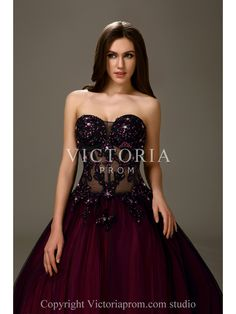 Sexy Beaded Tulle Satin Ball Gown Floor Length Sweetheart Prom Dress-US$178.99- StyleP2889-Victoria Prom