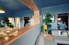 Hate the blue, love the wood trim if we ever open dining room -Q