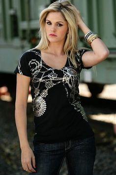 Womens Cruel Girl Black Foil Print Short Sleeve Shirt