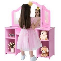 The child vanity table is suitable for children over three years old White Vanity Table, Vanity Table Set, Dressing Table Design, Makeup Dressing Table, Childrens Vanity Table, Kids Makeup Vanity, Small Storage Shelves, Table Sizes, Pink Color