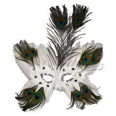 Amazon.com: White Butterfly Peacock Masquerade Feather Mask: Clothing