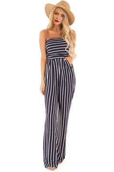 396fedd9299 Hualong Blue White Off Shoulder Vertical Striped Jumpsuits - Online Store  for Women Sexy Dresses