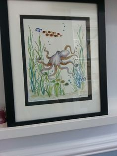 Watercolor painting with fish bodies made out of seaglass.  Cool idea!