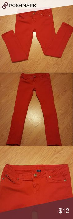 💕FINAL PRICE💕 Red skinny jeans Red skinny jeans from Wet Seal. Juniors size 13 in great condition. Jeans Skinny