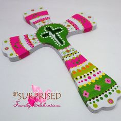 HANDPAINTED WOODEN CROSS Green/Pink decorative by GetSurprised