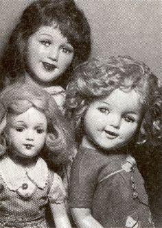 24-inch Flirty Deanna Durbin, 22-inch Flirty Shirley Temple, and 17-inch Arranbee teen - all composition. Ca 1930s.