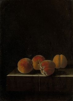 """desimonewayland: """"Adriaen Coorte, Four Apricots on a Stone Plinth, 1698 On loan from a private collection - via: Rijksmuseum """" List Of Paintings, Unique Paintings, Small Paintings, Dutch Golden Age, Classic Artwork, Vanitas, Still Life Photography, Textile Prints, Art Reproductions"""