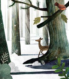 Winter deer 2 on Behance Art And Illustration, Forrest Illustration, Christmas Illustration, Landscape Illustration, Illustrations And Posters, Christmas Art, Art Day, Art Projects, Instagram